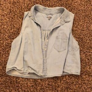 Charlotte Russe cropped denim button up top